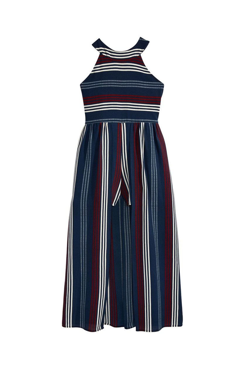 Striped Maxi-Overlay Romper, Navy/White/Red