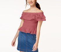 Planet Gold Juniors' Cotton Off-The-Shoulder Smocked Top, Slate Rose