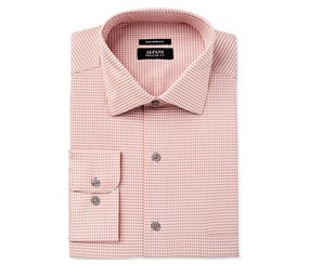 Alfani Men's Performance Button Up Dress Shirt, Coral/Grey