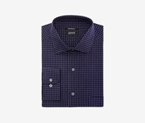 Alfani Men's Performance Stretch Easy Care Box Print Dress Shirt, Navy