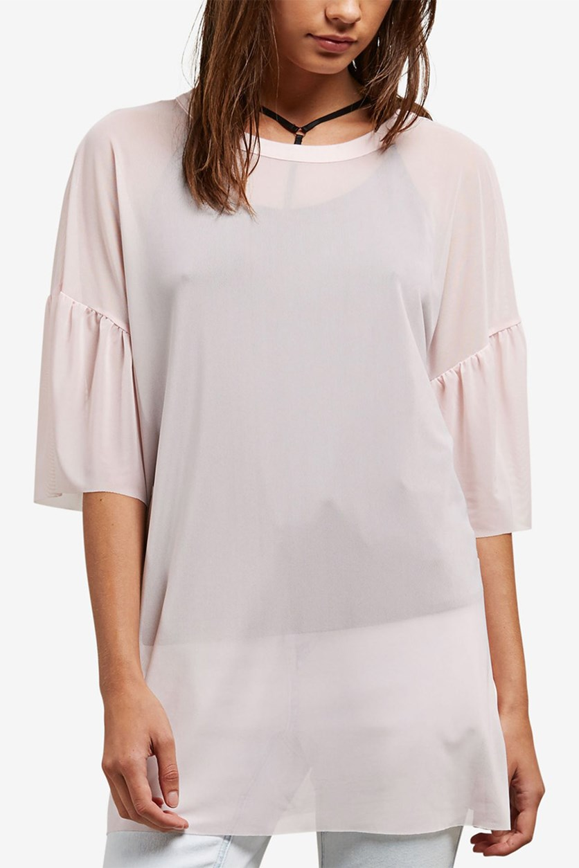 Juniors' Volstratum Top with Contrast Camisole, Light Pink