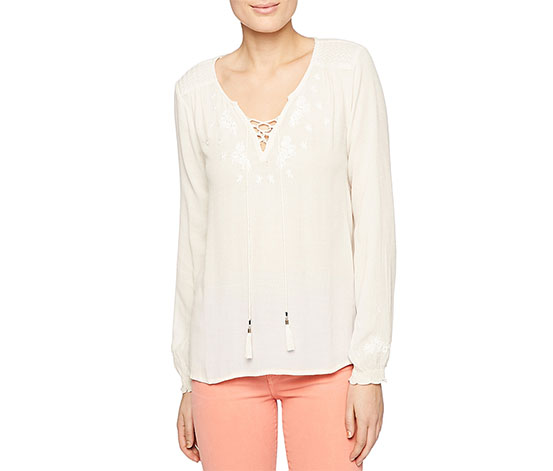 Sanctuary Women's Embroidered Lace-Up Top, Muslin