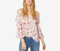 Sanctuary Avery Cotton Ruffled Off-The-Shoulder Top, Pink Combo