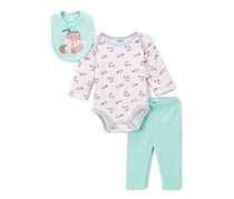 Bon Bebe Newborn Baby Girl 3pc Outfit Set, Green/White