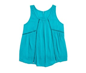 Aqua Girls' Ladder Stitch Crinkle Top, Teal