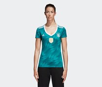 Adidas Women's Germany Away Jersey, Green/White/Real Teal
