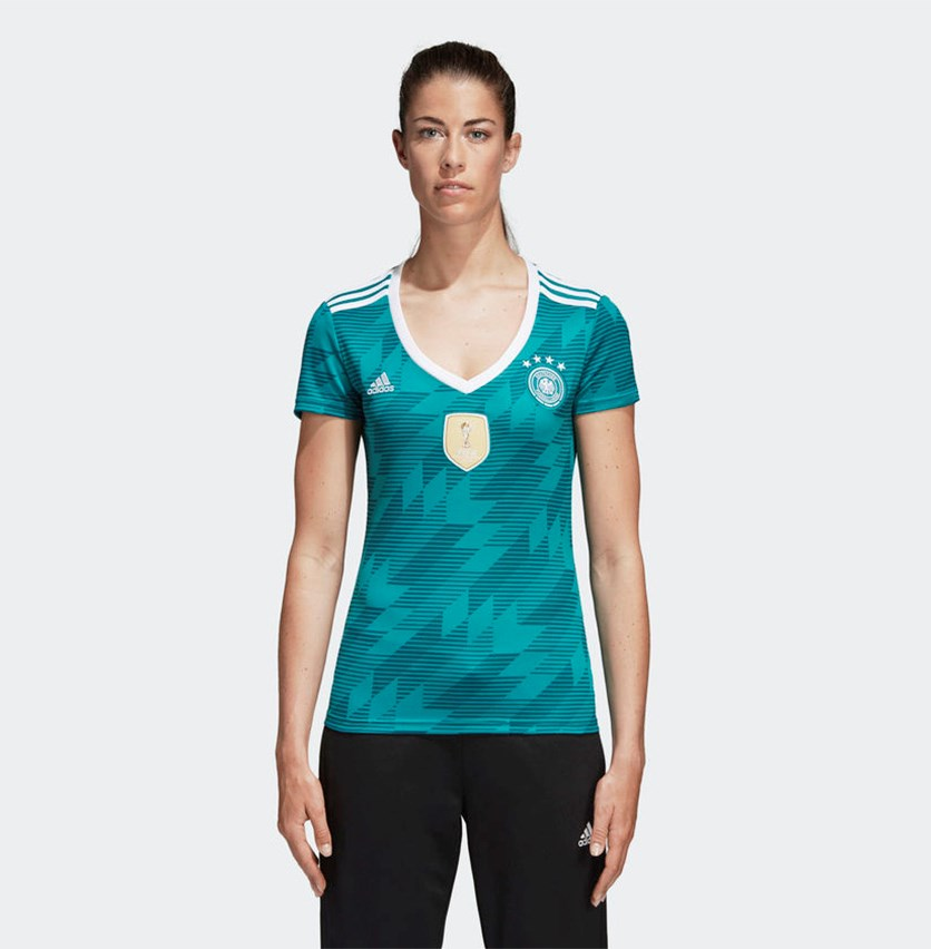 Women's Germany Away Jersey, Green/White/Real Teal