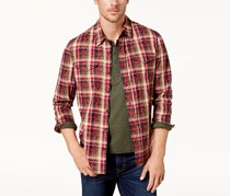 Men's Plaid Woven Shirt, Brown/Red