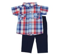 Bon Bebe Boy's 2 Piece Set Top & Pant, Blue/Pink