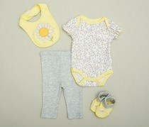Bon Bebe Girl's set 4pc, Yellow