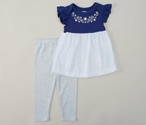 bon bebe Baby Girl 2pc Hem Dress & Leggings, Blue/White