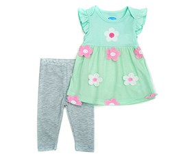 Bon Bebe Flower Dress And Leggings Set, Green Flora