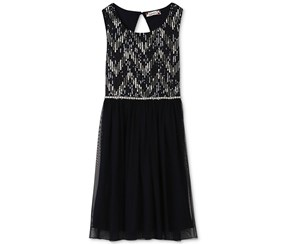 Speechless Girls Sequin Mesh Dress, Navy