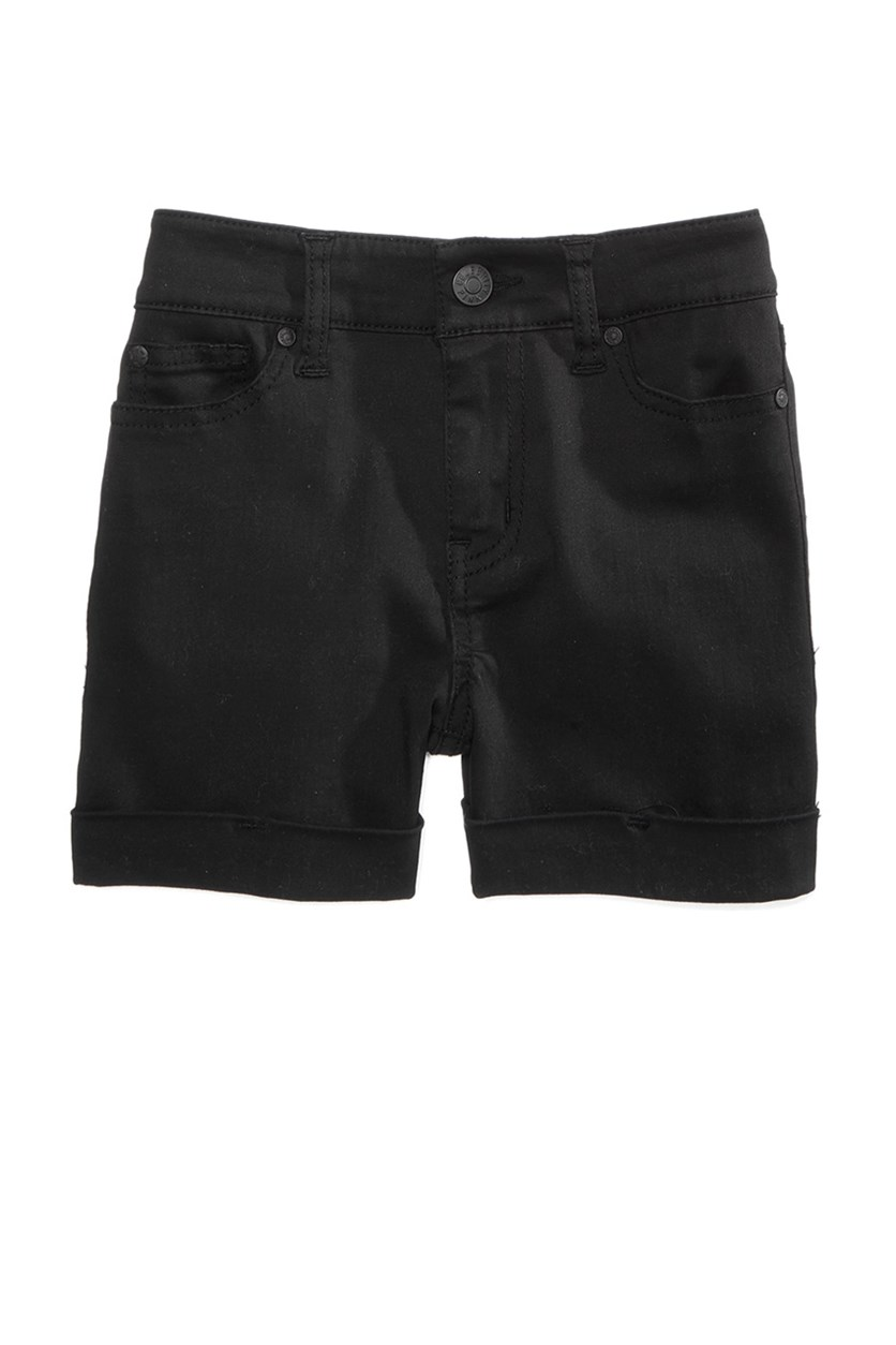 Big Girls Rolled Cuff Shorts, Black