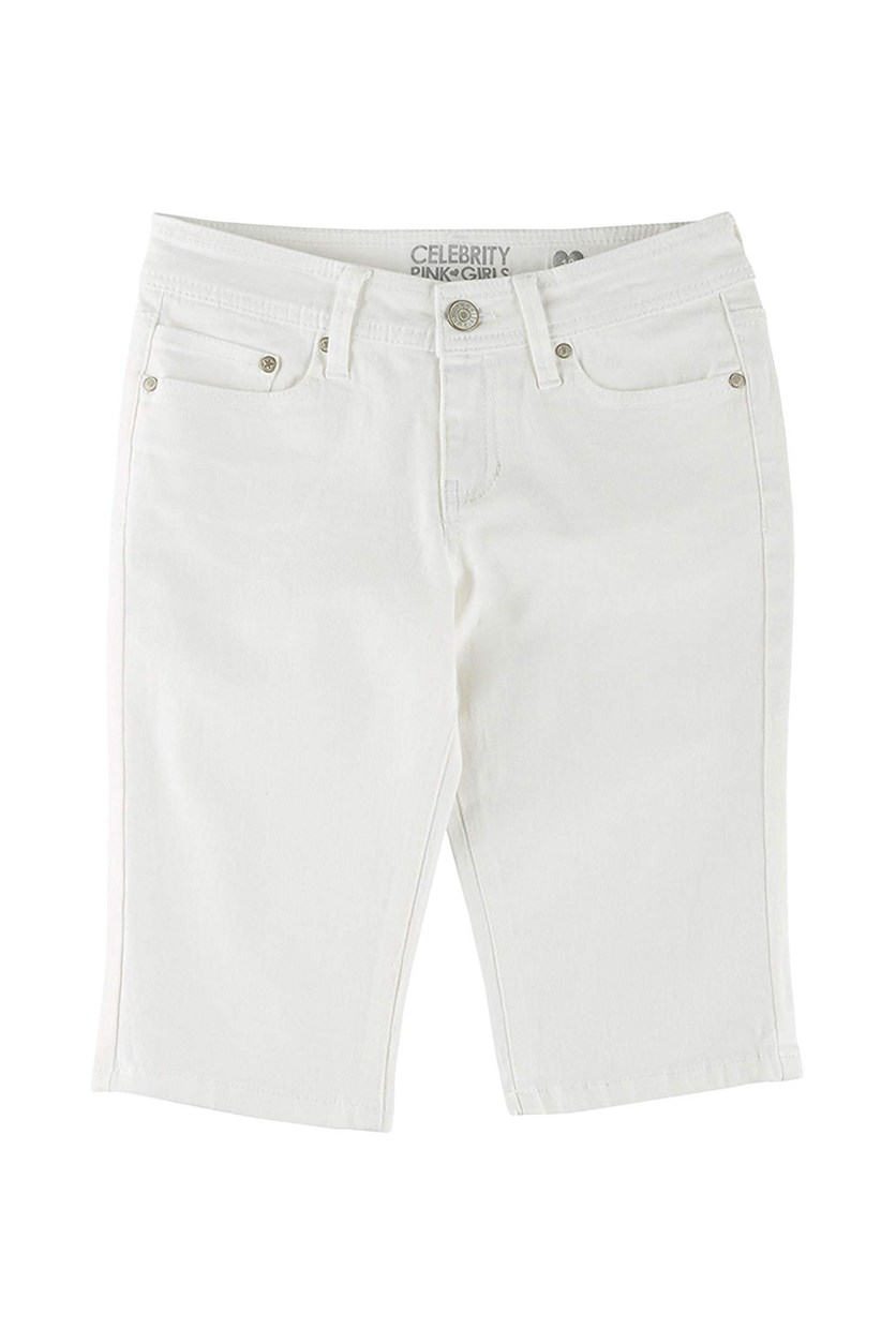 Big Girls Solid Skimmer Shorts, White