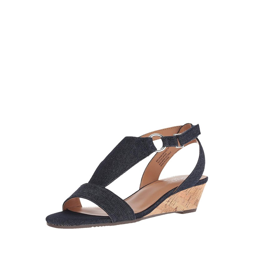 Women Creme Brulee Wedge Sandals, Denim