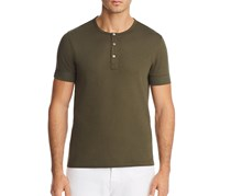 Michael Kors Mens Crepe Jersey-Knit Henley, Fatigue