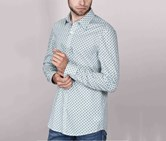 Men Long Sleeve Casual Shirt, Green/Ivory