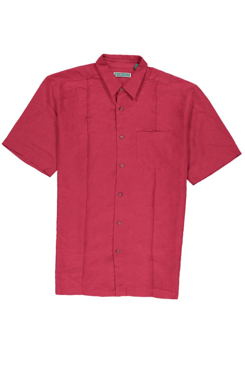Men's One-Chest Pocket Shirt, Dark Red
