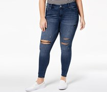 Plus Size Distressed Skinny Ankle Jeans, Navy