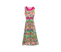 Rare Editions Girls Chevron-Print Pleated Maxi Dress, Fuschsia