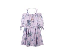Speechless Big Girls Floral-Print Gingham Dress, Lilac/Purple