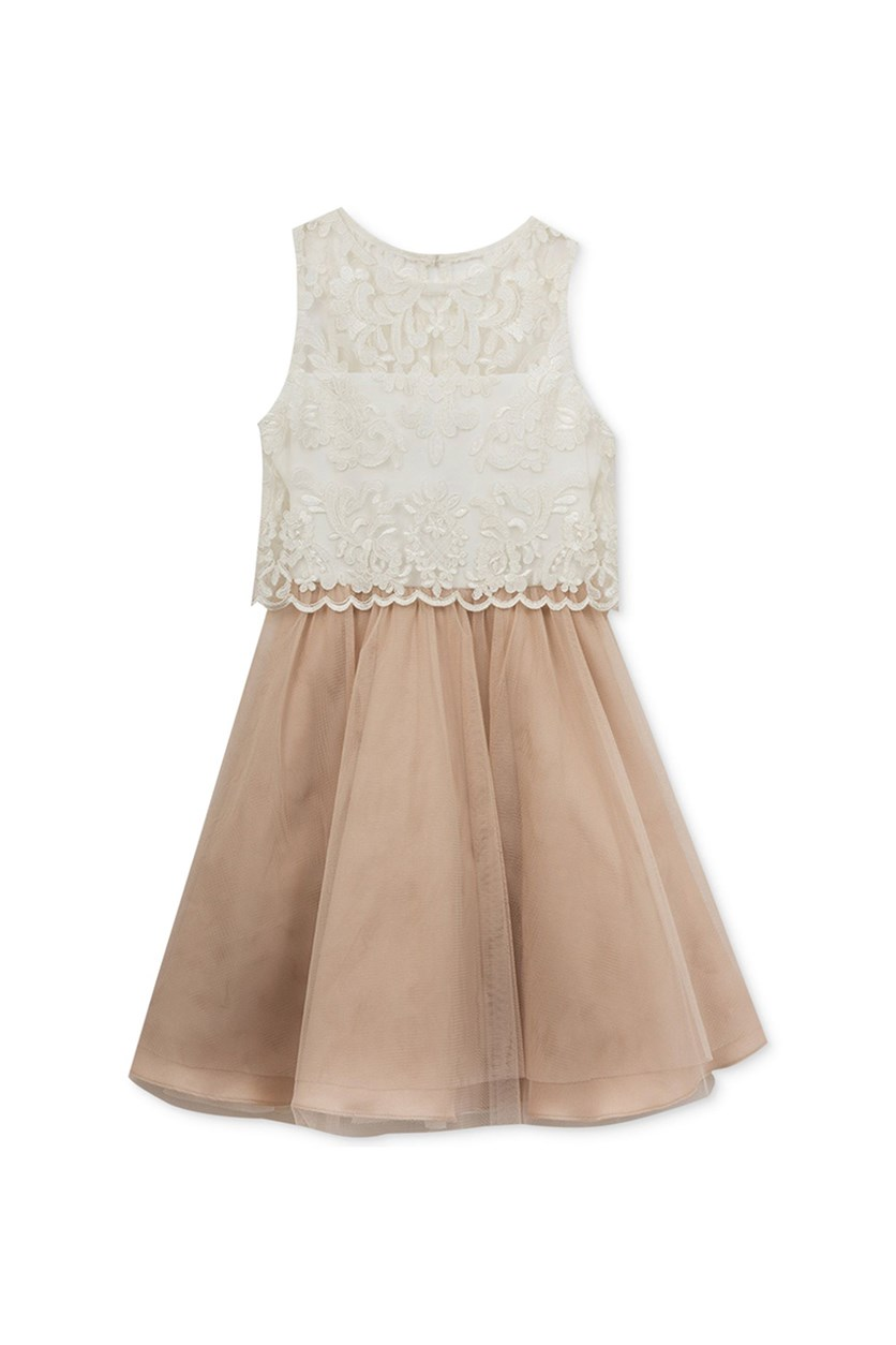Big Girls Lace Popover Dress, White/Tan