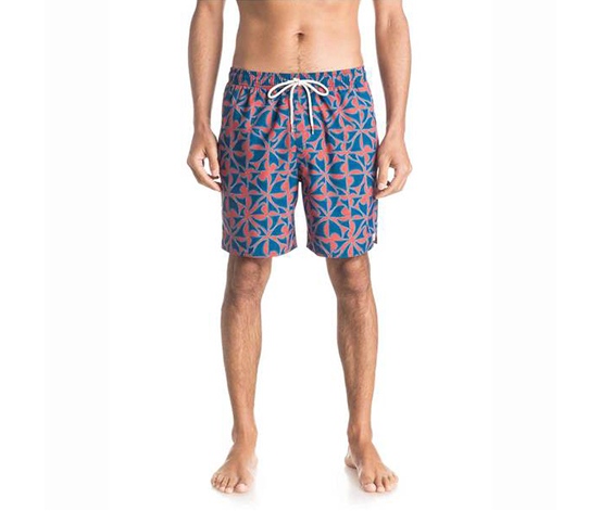 Quiksilver Men's Printed Summer Swim Trunks, Blue/Red