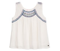 Roxy Big Girls Embroidered Dotty Folk Tank, White