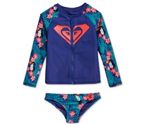 Roxy Girl's 2-Pc. Tropical Toucan Rashguard Set, Blue