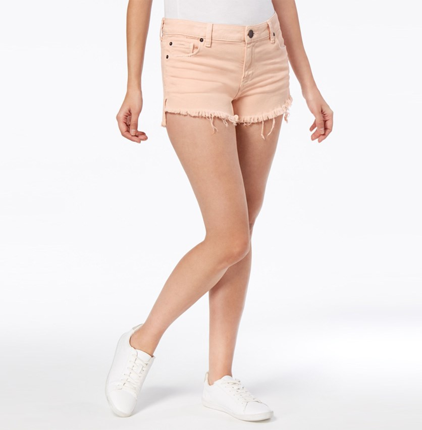 Frayed Step-Hem Denim Shorts, Salmon