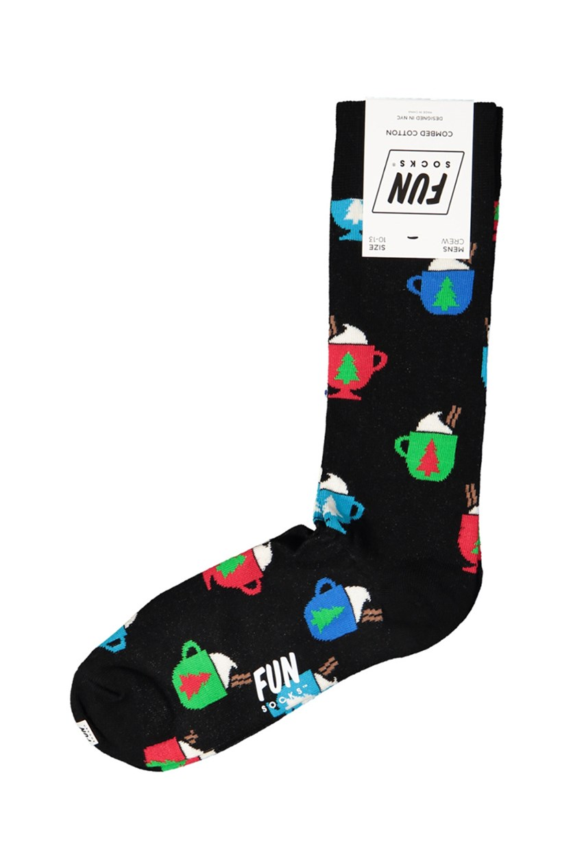 Men's Crew Mug Printed Socks, Black