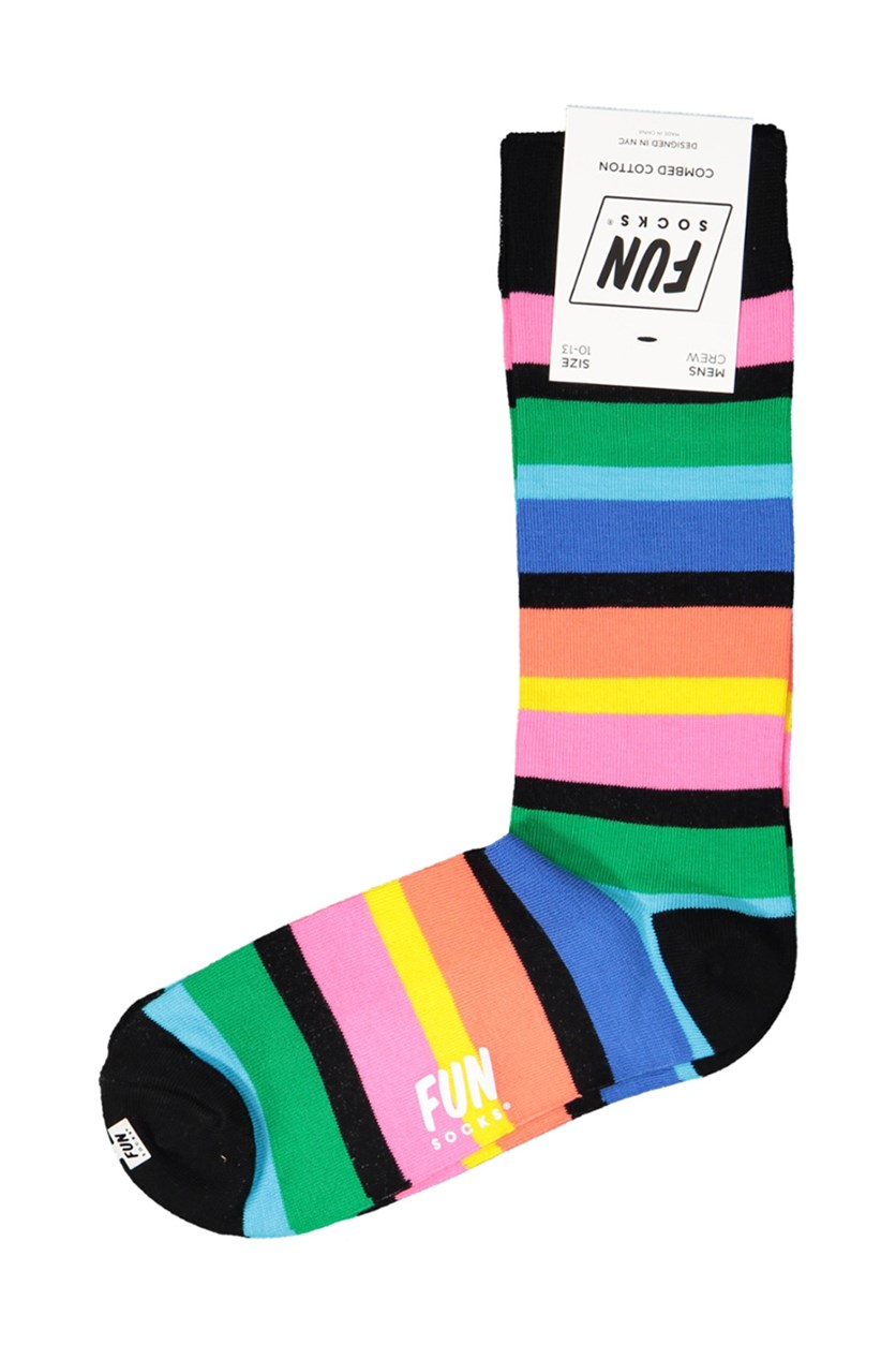 Men's Crew  Stripe Printed Socks, Black Combo