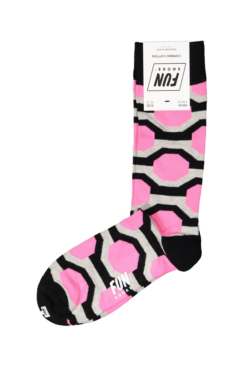 Men's Crew Printed Socks, Black/Grey/Pink