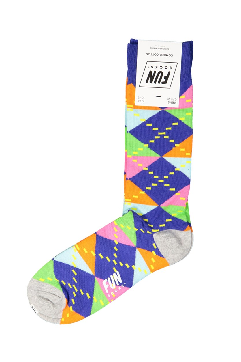 Men's Crew Printed Socks, Purple Combo