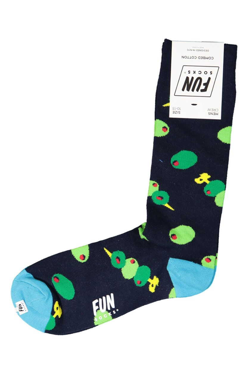 Men's Crew Printed Socks, Navy/Blue/Green