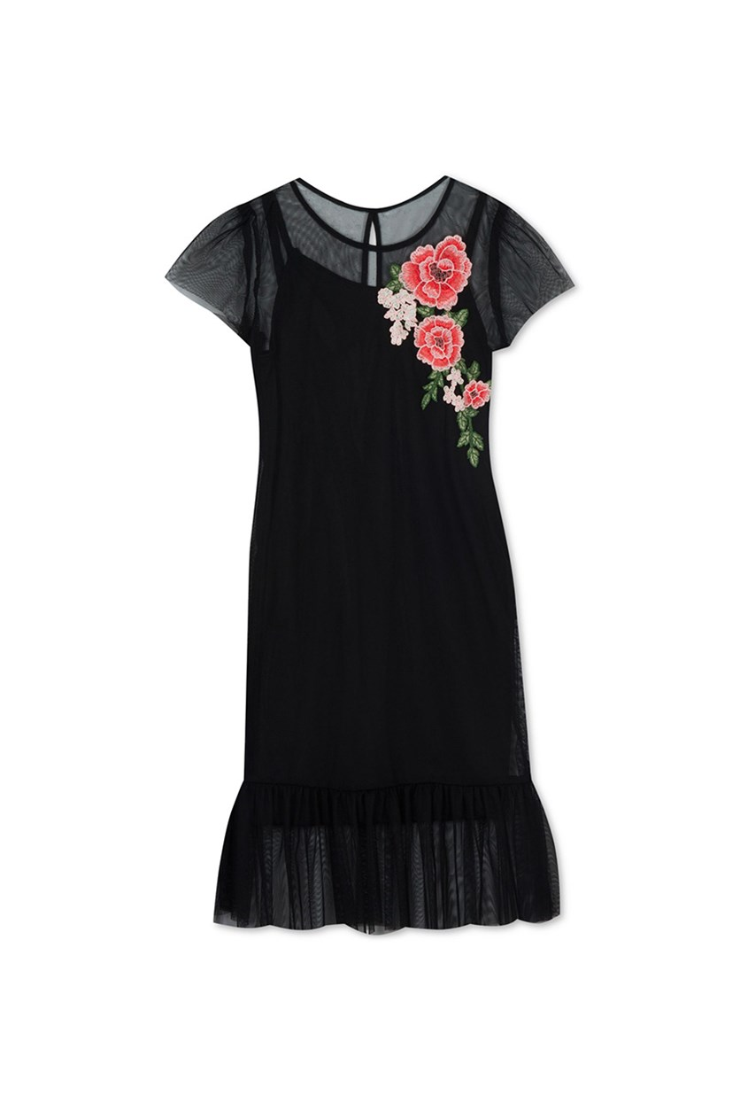 Big Girls Floral Applique Mesh Dress, Black