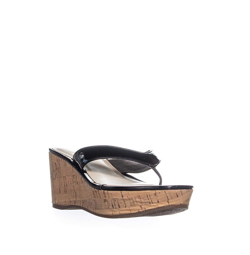 Women Raquel Cork Wedge Sandals, Black