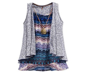 Beautees Girl's 3Pc Vest Tank Top Necklace Set, Grey/Navy