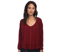 Free People Scoopneck Combo Button Top, Maroon