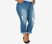 Poetic Justice Juniors'Cropped Jeans, Blue