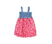 Funny Bunny Baby Girls Dress, Chambray/Pink Combo
