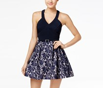 Crystal Doll Juniors' Belted Lace Fit & Flare Dress, Navy