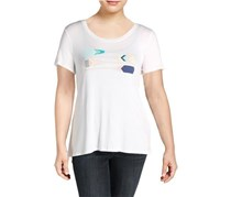 G.H. Bass & Co. Women's Scoop Neck Graphic T-Shirt, White