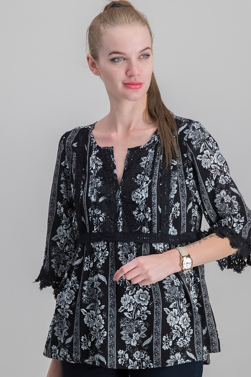 Women's Floral Print Top, Black Combo