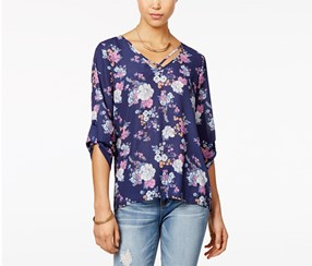 Hippie Rose Juniors' Printed Roll-Sleeve Blouse, Navy