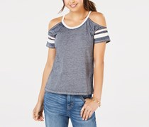 Hippie Rose Juniors' Cold-Shoulder Football T-Shirt, Navy Peach Combo