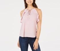 Hippie Rose Juniors' Ruffled Lace-Up Top, Lilac Bloom