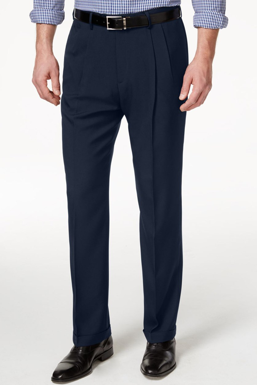 Classic-Fit Eclo Stria Double Pleated Dress Pants, Navy