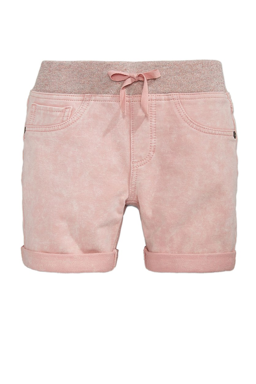 Denim-Look Knit Shorts, Frosted Rose